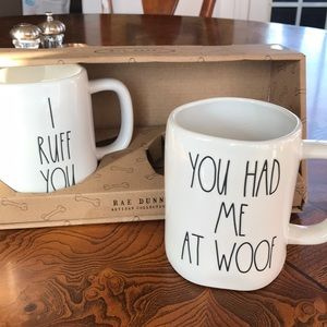 "Rae Dunn Dog set Mugs NWT ""I RuffYou"" &YouHadMe At"